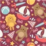 Papel de Parede Adesivo Rolo 0,58x3,00M Urso Leao Infantil Animal Menina Feminino 185681312