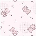 Papel de Parede Adesivo - Urso Pelúcia Rosa - N0903