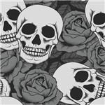 Papel de Parede Autocolante Caveiras e Rosas 0313