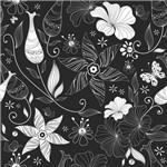 Papel de Parede Autocolante Floral Preto e Branco 526