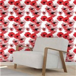 Papel de Parede Autocolante Floral Vermelho 684