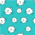 Papel de Parede Autocolante Gato Verde e Branco 210372754