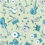 Papel de Parede Autocolante Música Verde 354