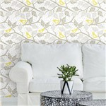 Papel de Parede Autocolante Pássaros Amarelo e Cinza 132029288