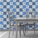 Papel de Parede Azulejo Floral Azul 129541532