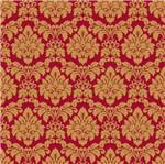 Papel de Parede Beautiful Home Arabesco I Vinilico Vermelho e Dourado