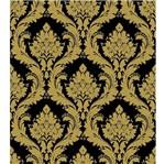 Papel de Parede Beautiful Home Arabesco Vinilico Preto e Dourado