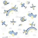 Papel de Parede Bobinex Bambinos Infantil Aviao Azul