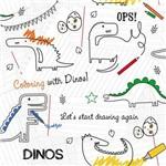 Papel de Parede Bobinex Renascer Desenho Dinossauro Colorido