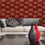 Papel de Parede Elefantes da Índia Mandala Vinho - P