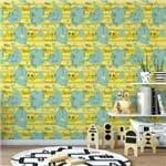 Papel de Parede Elefantes Girafas Amarelo - P