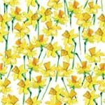 Papel de Parede Floral Amarelo Abstrato - P