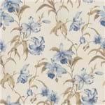 Papel de Parede Floral Azul e Marrom - Amecasa