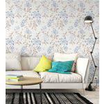Papel de Parede Floral Dream Azul e Cinza
