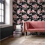 Papel de Parede Floral Rosas Preto - P