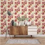 Papel de Parede Floral Tropical Abstrato Creme - P