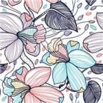 Papel de Parede Flores Coloridas Riscos Branco - M