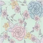 Papel de Parede Flores e Passarinhos Verde - P