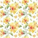 Papel de Parede Flores em Amarelo Delicado - P