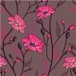 Papel de Parede Flores em Arabesco Tons Escuros Grafite - P