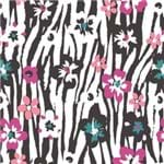 Papel de Parede Listrado Abstrato Floral Preto - P