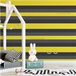 Papel de Parede Listrado Horizontal Amarelo com Cinza e Preto - P
