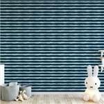 Papel de Parede Listrado Horizontal Azul Pintura - P