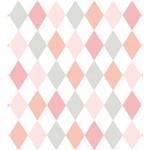 Papel de Parede Losangos Tons de Rosa e Cinza Bobinex Renascer 6243 Vinílico