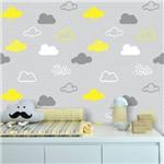 Papel de Parede Nuvens Cinza e Amarela - 3 Metros