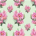 Papel de Parede Orquídea em Ramalhetes Verde Claro - P
