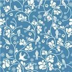 Papel de Parede Pássaros e Flores Arabesco Azul Cobalto - P