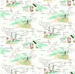 Papel de Parede Rainbow Sugar Mapa Creme e Verde