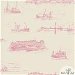 Papel de Parede Tnt Importado Coleção Davinci Ii Embarcações Bege, Vermelho