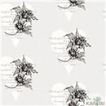 Papel de Parede Tnt Importado Coleção Davinci Ii Florais Corações Cinza, Bege, Preto