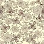 Papel de Parede Tropical Floral Pontilhado Champanhe - P