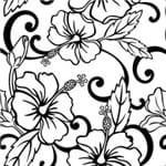 Papel de Parede Tropical Flores em Preto - P