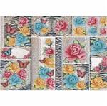 Papel Decoupage 34,3x49cm Rosas com Animal Print PD1-056 - Litoarte By Lili Negrão