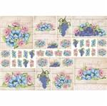 Papel Decoupage 34,3x49cm Rosas, Flores Azuis e Uvas com Fundo Madeira PD1-076 - Litoarte By Lili Negrão