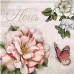 Papel Decoupage Adesiva 10x10cm Flores DAX-072 - Litoarte