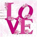 Papel Decoupage Adesiva 10x10cm Love com Flores Dax-074 - Litoarte