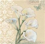 Papel Decoupage Adesiva 15x15 Flor Copo de Leite Daxv-059 - Litoarte