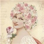 Papel Decoupage Adesiva Litoarte DA20-082 20x20cm Dama com Flores Rosas e Brancas