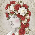 Papel Decoupage Adesiva Litoarte DA20-083 20x20cm Dama com Flores Vermelhas e Brancas