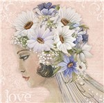 Papel Decoupage Adesiva Litoarte DA20-080 20x20cm Dama com Flores Brancas