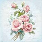 Papel Decoupage Adesiva Litoarte DA20-100 20x20cm Flores Rosas