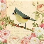 Papel Decoupage Adesiva Litoarte DA20-101 20x20cm Pássaro e Flores Vintage