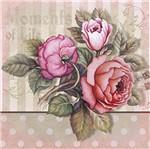 Papel Decoupage Adesiva Litoarte DAX-046 10x10cm Rosas Vintage