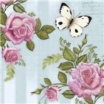 Papel Decoupage Adesiva Litoarte DAXV-043 15x15cm Rosas e Borboletas