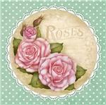 Papel Decoupage Adesiva Litoarte DAXV-068 15x15cm Rosas Shabby Fundo Verde