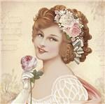 Papel Decoupage Adesiva Litoarte DAXV-073 15x15cm Mulher com Flores Rosas e Brancas